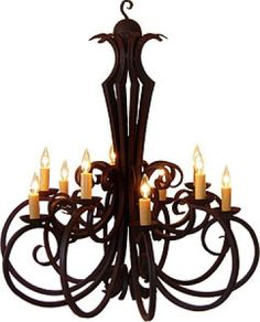 10 Light Hand Forged Wrought Iron Chandelier