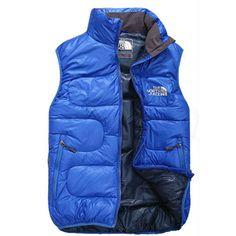 North Face Down Vest Blue-Mens