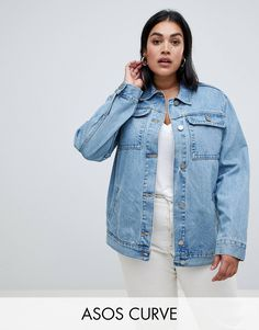 601d478effd DESIGN Curve denim girlfriend jacket in stonewash blue. Plus Size ...