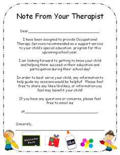 "Use this ""Note From Your Therapist"" letter to introduce yourself and Occupational Therapy services to your student's parents. Great icebreaker and initial communication to begin the school year!"
