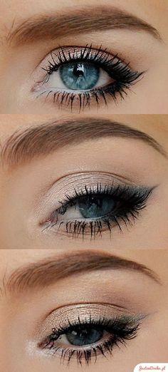 Simple Eye Makeup, Blue Eye Makeup, Eye Makeup Tips, Makeup For Brown Eyes, Makeup Ideas, Makeup Hacks, Diy Makeup, Prom Makeup, Eyeliner Ideas