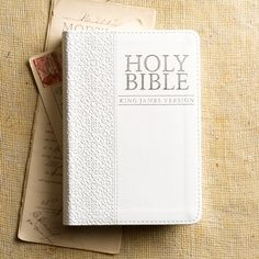 This pure white King James Version Pocket Edition is a lovely gift Bible. Its cover is constructed of quality man-made material imported from Italy, with the look and feel of real leather (trade name