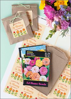 """Baby is Blooming"" - flower seed packets as baby shower favors"
