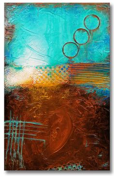 Textured Abstract Painting Urban Modern ORIGINAL 30x48 Green Aqua Teal Brown Fine Art by Maria Farias