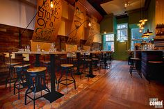 'Gewaagd proeflokaal' in Arnhem, The Netherlands. Interior design by Lenny Combé Design. Photography by Menno van der Meulen Bar Interior, Interior Design, Flooring, Wall, Furniture, Netherlands, Home Decor, Photography, Nest Design