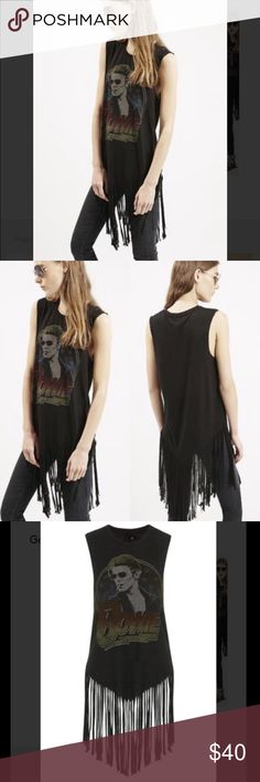 """Last 1! David Bowie Fringe Tee Amazing! Vintage feel from Topshop. So soft and easy to wear all summer long and when it gets chillier with a moto or jean jacket. Shorts, pants, it all looks good! Size 2, 16"""" underarm to the. Size 4, 16.75"""" underarm to underarm. Size 6, 17.5"""" underarm to underarm. From shoulder 22-26"""" and 10-12"""" of fringe! Topshop Tops Muscle Tees"""