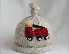 baby boy knit hat with fire truck applique. sizes newborn-big kid available