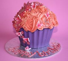 Pink and Purple Giant Cupcake - by ECCupcakes @ CakesDecor.com - cake decorating website