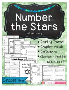 Number the Stars: Reading Journal, Vocabulary, and Activities. Perfect for grades Teaching Numbers, Student Teaching, Teaching Reading, Guided Reading, Teaching Ideas, 6th Grade Ela, 6th Grade Reading, Grade 3, Fourth Grade