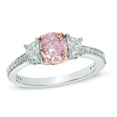 1-3/8 CT. T.W. Certified Oval Enhanced Pink Diamond Ring in Platinum and 18K Rose Gold