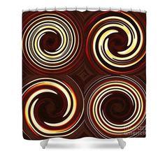 Four Swirls On Brown Shower Curtain  http://fineartamerica.com/products/four-swirls-on-brown-sarah-loft-s..  #showercurtains #sarahloft #digitalart #digital #abstract