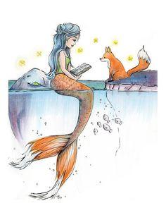 Foxtail Mermaid - whimsical Mermaid and fox illustration Fuchsschwanz-Meerjungfrau skurrilen Meerjun Mermaid Artwork, Mermaid Drawings, Mermaid Paintings, Fantasy Kunst, Fantasy Art, Drawing Sketches, Art Drawings, Marker Drawings, Drawing With Markers