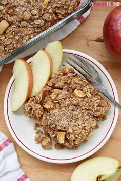 Apple Cinnamon Baked Oatmeal ~ loaded with tender apples, spiced with warm cinnamon, and lightly sweetened with maple syrup, this wholesome breakfast is sure to become a new fall favorite!   FiveHeartHome.com