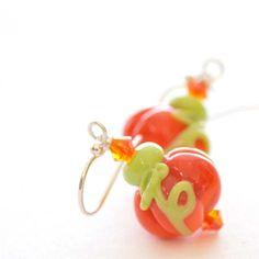 Pumpkin Earrings on Sterling Silver by bstrung on Etsy, $32.00