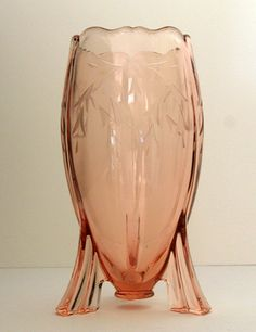 Martinsville Pink Etched Glass Rocket Vase