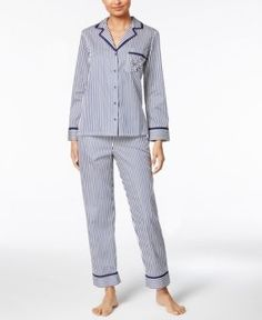 kate spade new york Heart-Pocket Cotton Pajama Set - Blue XS Striped Pyjamas, Cotton Pyjamas, Women Lingerie, Pajama Set, Kate Spade, Menswear, Pocket, Pj, York