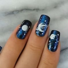 Unique Galaxy nail design using stamp Nail art is an innovative way to paint, decorate, enhance, and Beautiful Nail Art, Gorgeous Nails, Simple Nail Designs, Nail Art Designs, Wild Nail Designs, Minecraft Nails, Nail Art Vernis, Nail Nail, Hallographic Nails