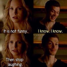 I love Klaus reaction to Caroline's request and this scene