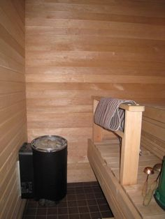 This is our small apartment sauna. Since the most new apartments had a sauna built in, something typically Finnish :) This sauna has a set of led lights in the ceiling, which give a nice atmosphere and a dim lighting suitable for a sauna. Finnish Sauna, Dim Lighting, Small Apartments, Hearth, This Is Us, Bucket, Ceiling, Lights, Led