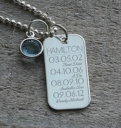 Important Dates Birthstone Necklace - Engraved Gift