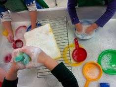 Play, Learn & Do in Preschool - learning through play! Dish washing helpers for Thanksgiving!