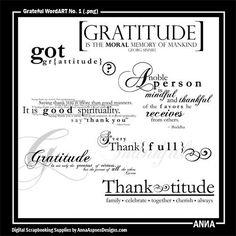 Grateful WordART No. 1 Oscraps.com :: Shop by Designer :: Anna Aspnes Designs :: Thanksgiving ValuePack No. 1