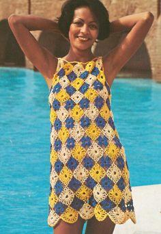 Vintage 1970s Boho Mini Dress Lacy Multi Color Crochet Pattern PDF 7405 Bust 36 Size M Medium Hippie Hipster Coachella