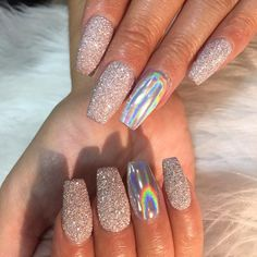 Spring Nail Art Cute Acrylic nail designs - Nails C Glam Nails, Beauty Nails, My Nails, Sparkly Acrylic Nails, Glitter Nails, Holographic Nails Acrylic, Crome Nails, Nail Spa, Acrylic Nail Designs