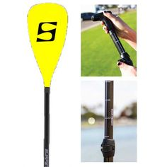 Adjustable Carbon Composite SUP Paddle w/Yellow Carbon Fiber Blade | FREE SHIPPING!
