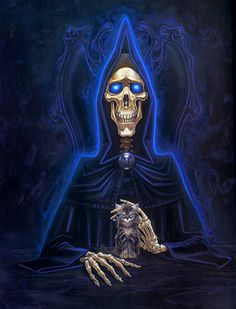 DEATH with his kitteh. #Discworld