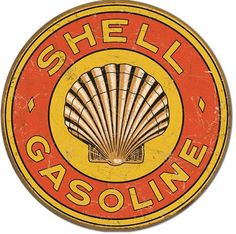 Shell Motor Oil Gasoline, round metal tin sign, vintage grunge style, rustic home office garage art wall decor D1964 by HomeDecorGarageArt on Etsy