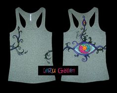 Hand painted tank-top. Psychedelic clothes. Painted от LeRuGallery