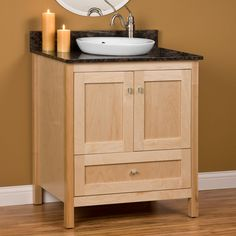 Shaker Natural Maple Bathroom Cabinets Semicustom Sold Through - Semi custom bathroom cabinets for bathroom decor ideas