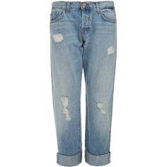 J Brand Sonny Blissful Mid-Rise Relaxed Boyfriend Jeans (€125) ❤ liked on Polyvore featuring jeans, bottoms, pants, clothing - trousers, denim, blue, ripped jeans, blue jeans, relaxed fit jeans and destroyed boyfriend jeans