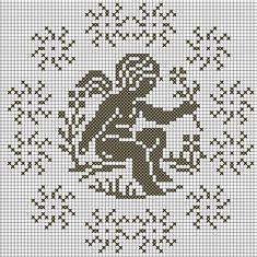 Gallery.ru / Фото #136 - Ангелочки (схемы) 2 - Olgakam Crochet Placemats, Cross Stitch Angels, Crochet Angels, Filet Crochet, Cherub, Needlework, Alphabet, Crochet Patterns, Embroidery