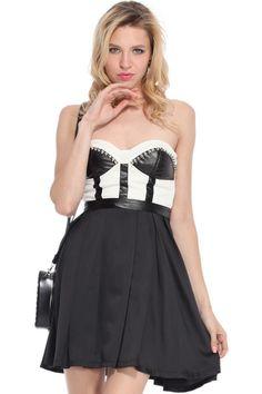 ROMWE | Rivets Embellished Black-white Bandeau Dress, The Latest Street Fashion #RomwePartyDress