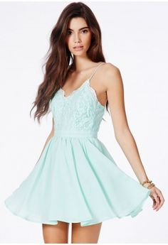 Lace plunge neck puffball dress