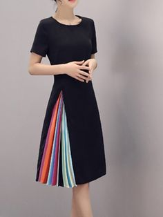 37078b9a6d7d5 Color Block Pleated A-Line Asymmetrical Women s Day Dress