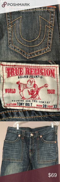 TRUE RELIGION Tony Big T Row 38 Seat 33 TRUE RELIGION Tony Big T Row 38 Seat 33   These AUTHENTIC True Religion jeans are in super *EXCELLENT* condition and show very little wear. No holes, tears, stains or rips. Leg holes show very minor wear. Stitching is in excellent condition!  Please check the pictures!  Size on the label is Row 38 Seat 33    Measurements Inseam: 28.5 inches Front Waist: 19.5 inches Back Waist: 19.5 inches Rise: 11 inches Leg opening: 20 inches  (Measurements are taken…