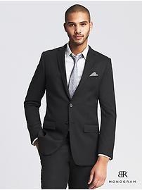 BR Monogram Black Italian Wool Suit Jacket