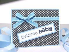 Handmade Baby Boy Card - Welcome Baby - Free US Shipping