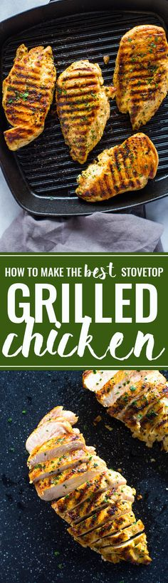 How to Grill Chicken on Stove-Top (Easy Grill Pan Method) (Grilling Recipes Chicken) Grilled Chicken On Stove, Stove Top Chicken, Grilled Chicken Recipes, Grilled Meat, Yum Yum Chicken, Easy Chicken Recipes, Recipe Chicken, Chicken Seasoning, Roasted Chicken