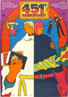 Cult film from a cult book, 456 Fahrenheit by Francois Truffaut. Poster art by Kemény György.