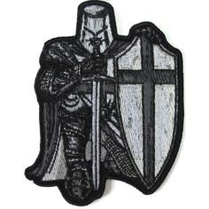 Black and White Crusader Knight Small Patch