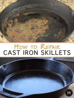 Cleaning a cast iron skillet and reseasoning it for a great nonstick surface. You can return a rusted and old cast iron skillet to almost new! Deep Cleaning Tips, House Cleaning Tips, Diy Cleaning Products, Cleaning Hacks, Iron Cleaning, Cleaning Solutions, Diy Hacks, Cleaning Rust, Weekly Cleaning