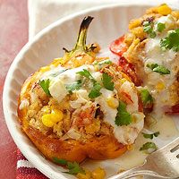 Southwestern Stuffed Roasted Peppers Nutrition Facts Servings Per Recipe 4, cal. (kcal) 383, Fat, total (g) 18, chol. (mg) 119, sat. fat (g) 6, carb. (g) 39, Monosaturated fat (g) 3, Polyunsaturated fat (g) 1, Trans fatty acid (g) 0, fiber (g) 4, sugar (g) 10, pro. (g) 15