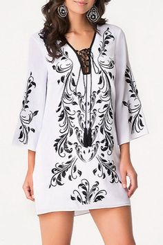 Retro Embroidery 3/4 Sleeves Loose-Fitting Dress
