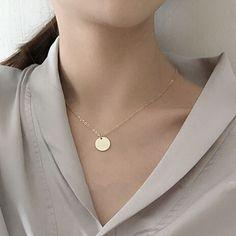N076 verschiffen Neue Vergoldete Runde Anhänger Halsketten Großhandel
