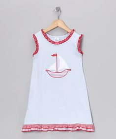 Take a look at this Blue Sailboat Ruffle Dress - Infant, Toddler & Girls by Beehave on #zulily today!
