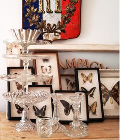 Antique framed butterflies
